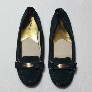 NEW MICHAEL Michael Kors forest green suede loafer